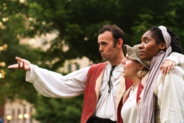 Eric Duhon (Orlando), Emily Demko (Rosalind), and Charlee Cotton (Celia)